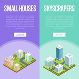 Modern downtown and small town quarter flyers. Modern downtown and town quarter isometric vector illustration. Skyscrapers with shiny glass facades, city streets vector illustration