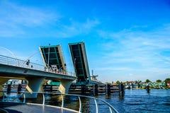 Modern Draw Bridge being opened at Zaandijk over the Zaan River Royalty Free Stock Image