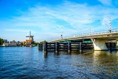 Modern Draw Bridge at the town of Zaandijk crossing the Zaan River Royalty Free Stock Photography
