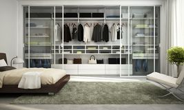 Modern dressing room in the bedroom. Modern dressing room in the large bedroom royalty free stock photography