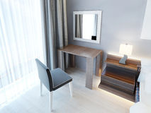 Modern dressing table with chair and mirror. Royalty Free Stock Photos