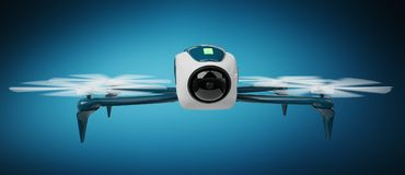 Modern drone 3D rendering. Modern drone on blue background 3D rendering Stock Image