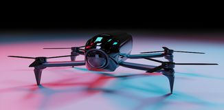 Modern drone 3D rendering. Modern drone on dark background 3D rendering Stock Photo