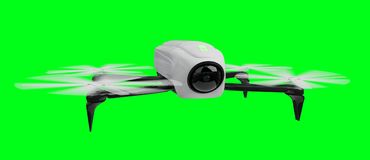 Modern drone 3D rendering. Modern drone on green background 3D rendering Royalty Free Stock Photos