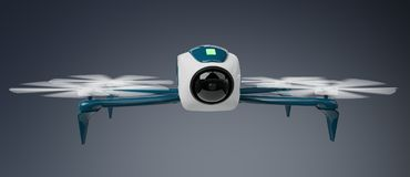 Modern drone 3D rendering. Modern drone on grey background 3D rendering Royalty Free Stock Image