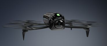Modern drone 3D rendering. Modern drone on grey background 3D rendering Royalty Free Stock Photos