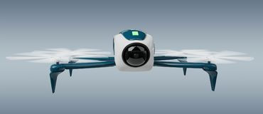 Modern drone 3D rendering. Modern drone on grey background 3D rendering Stock Image