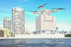 Modern drone delivery background stock image