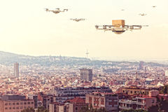 Modern drone delivery Stock Photography