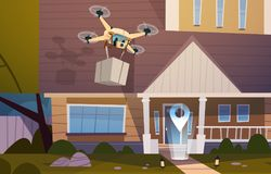 Modern Drone Fly Over House Building With Box, Air Transportation And Delivery Technology Concept Stock Photo
