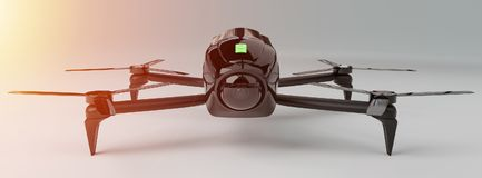 Modern drone 3D rendering. Modern drone on white background 3D rendering Royalty Free Stock Images