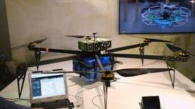 Modern drones demonstration at the exhibition during Skolkovo Robotics Forum stock video