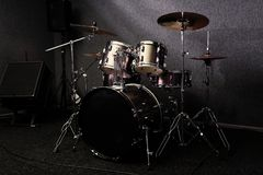 Modern drum set in recording studio. Music equipment royalty free stock photos