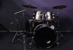 Modern drum set in recording studio. Music equipment stock photography