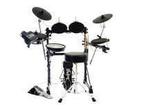 Modern Drums. Modern electric drum set isolated on white Royalty Free Stock Photo