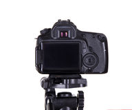 Modern dslr camera with blank screen isolated on white Royalty Free Stock Images