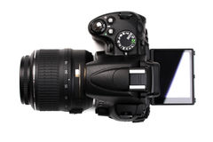 Modern DSLR camera with vari-angle monitor. Royalty Free Stock Photography