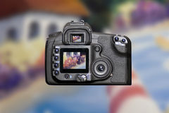Modern DSLR Digital Camera. Back view of modern professional DSLR Digital Camera Royalty Free Stock Photography