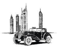 Modern Dubai Buildings and Vintage Car Vector Illustration Royalty Free Stock Photos