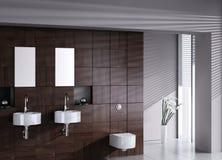 Modern dubbel bassin met toilet Stock Foto
