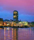 Modern Dublin Docklands on Grand Canal on a sunset Stock Photo