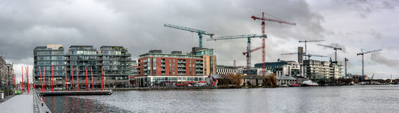 Modern Dublin Docklands or Silicon Docks, panoramic image Royalty Free Stock Images
