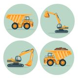 Modern dump truck and functional excavator emblems set. Industrial machines to build and carry cargoes inside circles isolated cartoon vector illustrations vector illustration