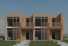 Modern Duplex. 3D rendering of a modern duplex residence Stock Photography