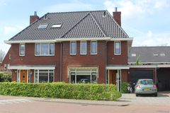 Modern Dutch family house in the Eempolder Stock Image
