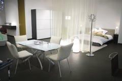 Modern dwelling studio. Interior of modern dwelling studio in light tone Stock Photos