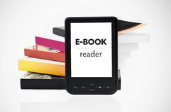 Modern e-book reader with books Stock Images