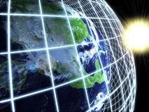 Modern earth in a web network. Abstract background Stock Images