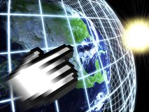 Modern earth in a web network with hand icon Stock Photo