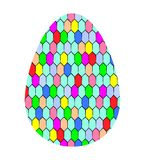 Modern Easter egg decjrated with mosaic, tile. Flat icon. Vector royalty free illustration