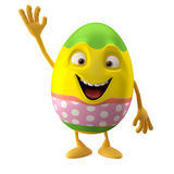 Modern easter egg on white background. Happy Easter, 3D easter character, cheerful cartoon, amusing egg isolated on white background Royalty Free Stock Photos