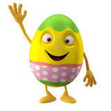 Modern easter egg on white background. Happy Easter, 3D easter character, cheerful cartoon, amusing egg isolated on white background Stock Images