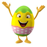 Modern easter egg on white background. Happy Easter, 3D easter character, cheerful cartoon, amusing egg isolated on white background Stock Image