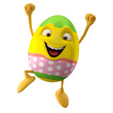 Modern easter egg on white background. Happy Easter, 3D easter character, cheerful cartoon, amusing egg isolated on white background Royalty Free Stock Image