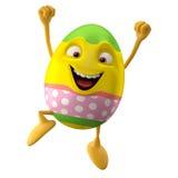 Modern easter egg on white background. Happy Easter, 3D easter character, cheerful cartoon, amusing egg isolated on white background stock illustration