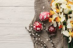 Modern easter flat lay. stylish colorful easter eggs with spring Stock Images