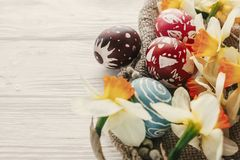Modern easter image. stylish colorful easter eggs with spring fl Stock Image