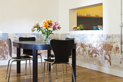 Modern eating room. A beautiful modern eating room of a house Stock Photography