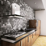 Modern ebony wood kitchen interior 3d Stock Photo