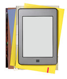 Modern ebook reader with books Royalty Free Stock Image