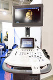 Modern echocardiography (ultrasound) machine monitor. Colour ima. Ge. New hospitl equipment for a better diagnostics. Fetral face, Virtual HD royalty free stock photo