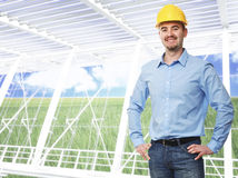 Modern eco building and engineer Royalty Free Stock Image