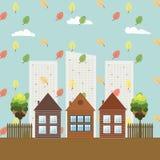 Modern Eco City, Autumn Theme. Stock Photo