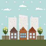 Modern Eco City, Spring Theme. Modern Eco City With Wooden Houses And Skylines, Spring Theme royalty free illustration