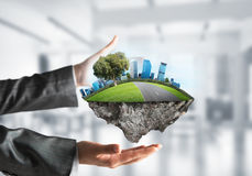 Modern eco friendly city and ecology concepts. royalty free stock photo