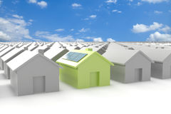 Modern eco house standing out from the crowd Royalty Free Stock Photos